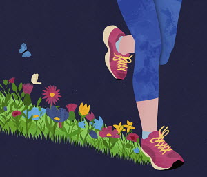 Runner on flower meadow track
