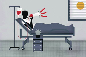 Patient in hospital bed using bullhorn