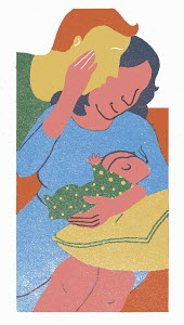 Mother with husband breastfeeding baby