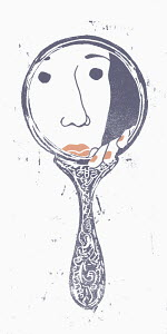 Woman peeking from behind hand mirror