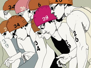 Focused swimmers with numbers on their swimming caps at the start