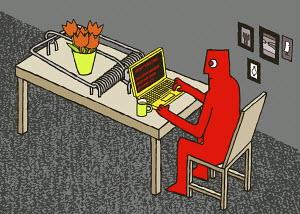 Man using laptop on mousetrap