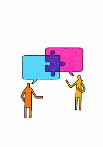 Jigsaw piece connecting speech bubbles above man and woman