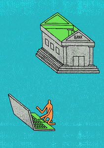 Man using roof of bank as laptop