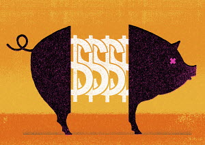 Dollar signs in middle of pig