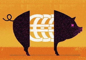 Euro symbols in middle of pig