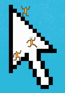 People running on steps of cursor