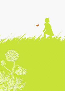 Girl chasing butterfly in field