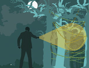 Businessman searching forest at night