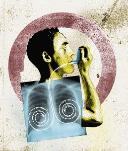 Man using inhaler for asthma