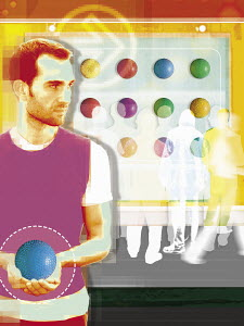 Man with ball looking back at people round ball puzzle