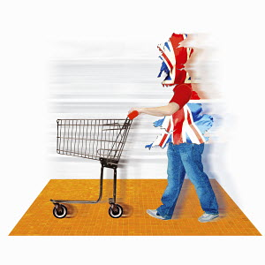 British flag covering consumer with shopping cart