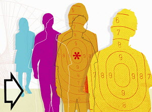 Multicolored people with targets