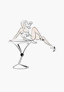 Sexy woman sitting in cocktail glass