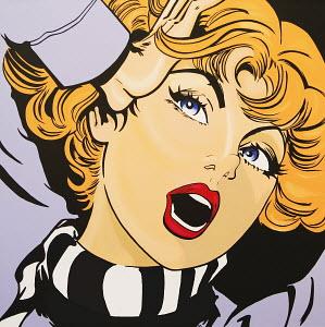 Screaming, blonde woman