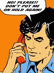 Frustrated man on telephone talking in speech bubble