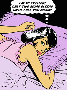 Excited woman laying in bed thinking in thought bubble