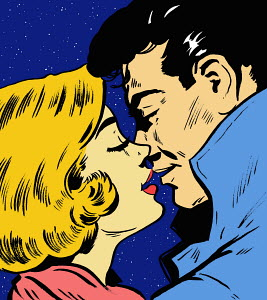 Close up of couple kissing under night sky