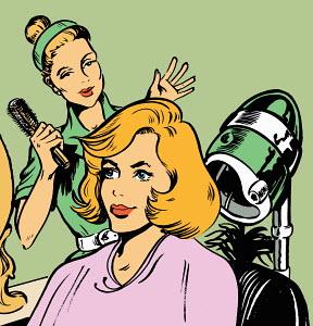 Hairdresser admiring client�s hair