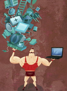 Strong man balancing laptop and household items - Strong man balancing laptop and household items