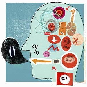 Financial figures inside man's head