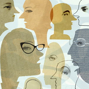 Collage of faces communicating