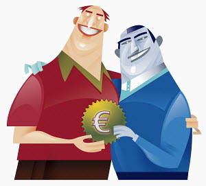 Two men holding cog with euro sign decoration