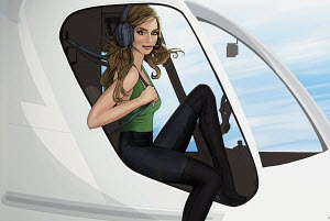 Glamorous woman getting out of helicopter