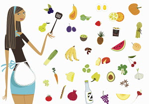 Woman in apron standing with healthy foods - Woman in apron standing with healthy foods