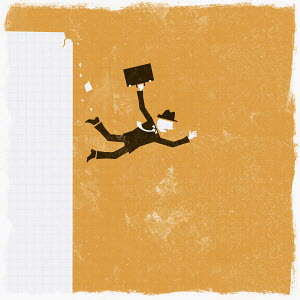 Businessman falling off cliff