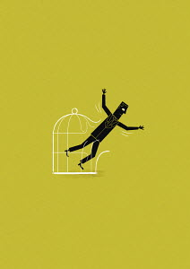 Businessman flying out of birdcage
