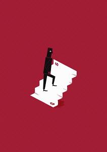 Man walking up dollar stairs