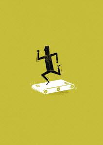 Businessman running on dollar treadmill