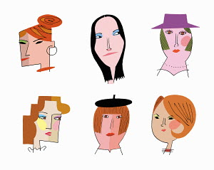 Faces of six women