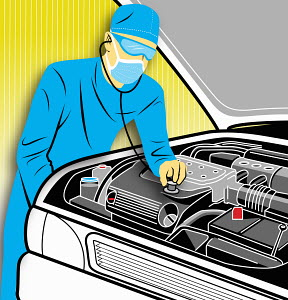Surgeon putting stethoscope on car engine