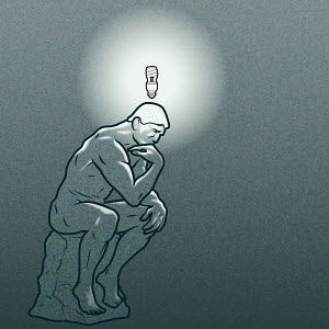 The Thinker statue with energy-saving lightbulb above his head