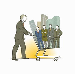 Businessman pushing shopping cart with business people and office blocks