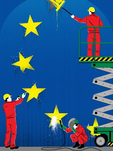 Workers repairing stars of European flag