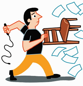 Man holding chair and whip taming paperwork