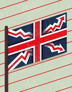 Union Jack with arrows on diagram paper with percentage sign