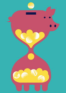 Piggy bank as hourglass