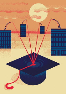 High-rise buildings trying to catch mortarboard