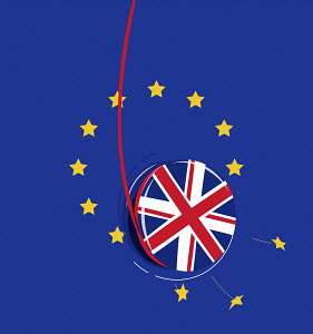 UK yo-yo breaking European Union flag
