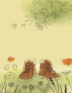 Hiking boots in rural landscape