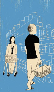 Man and woman choosing products from shelf in supermarket