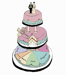 Bride and groom on wedding cake with lots of expenses