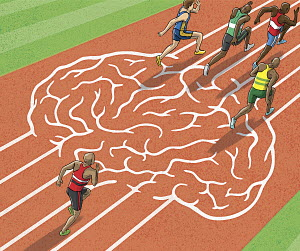 Athletes running on brain track