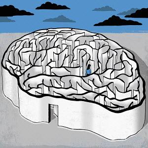Woman walking inside brain maze