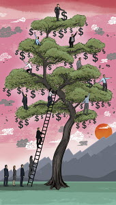 Business people climbing on money tree
