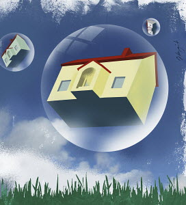 Houses in bubbles floating in the sky